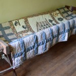 Antique Quilting Frame with Quilt